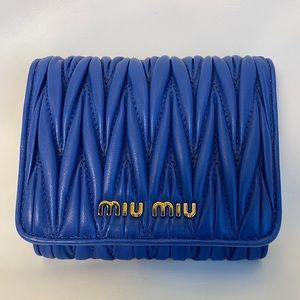 Miu Miu 5MH016 Matelasse Blue Leather Wallet